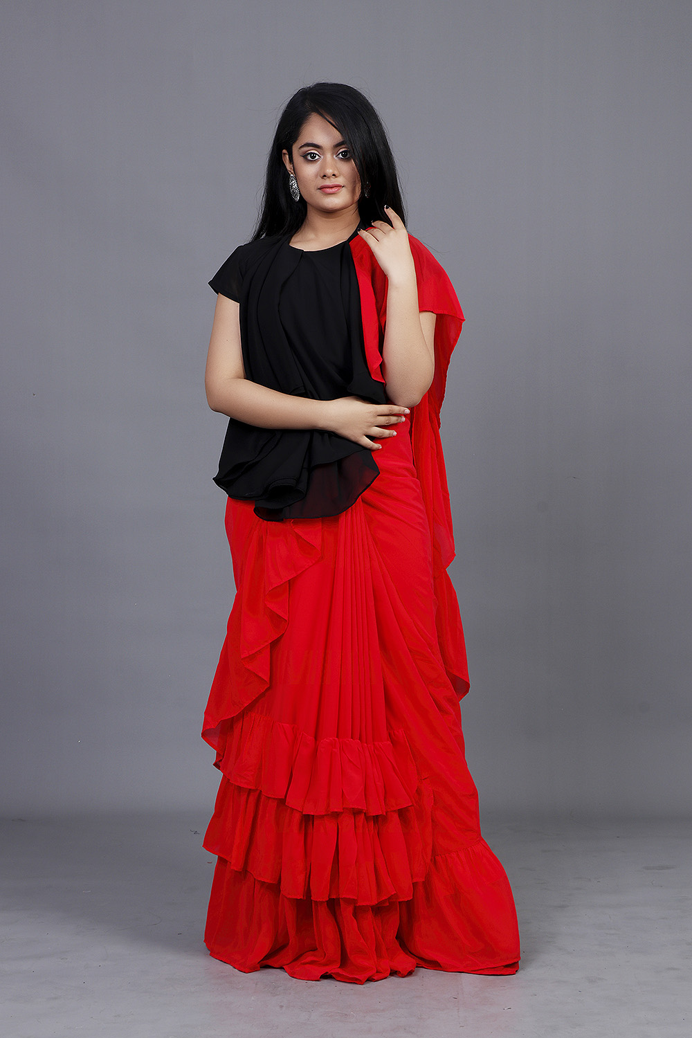 Red -Black Ruffles Sari with Stitched Blouse