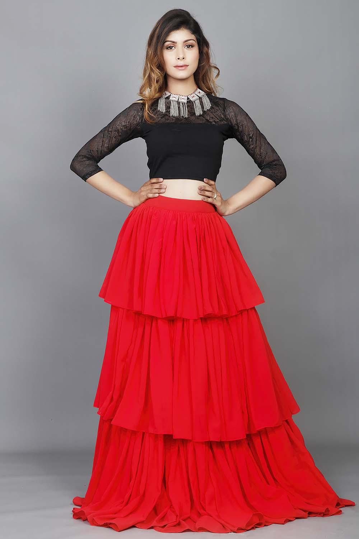 Red Black Massive Flare Skirt Top Set
