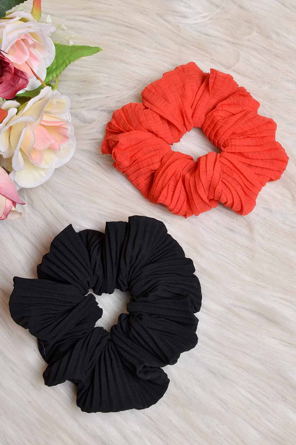 Red Black Pleated Scrunchies Combo