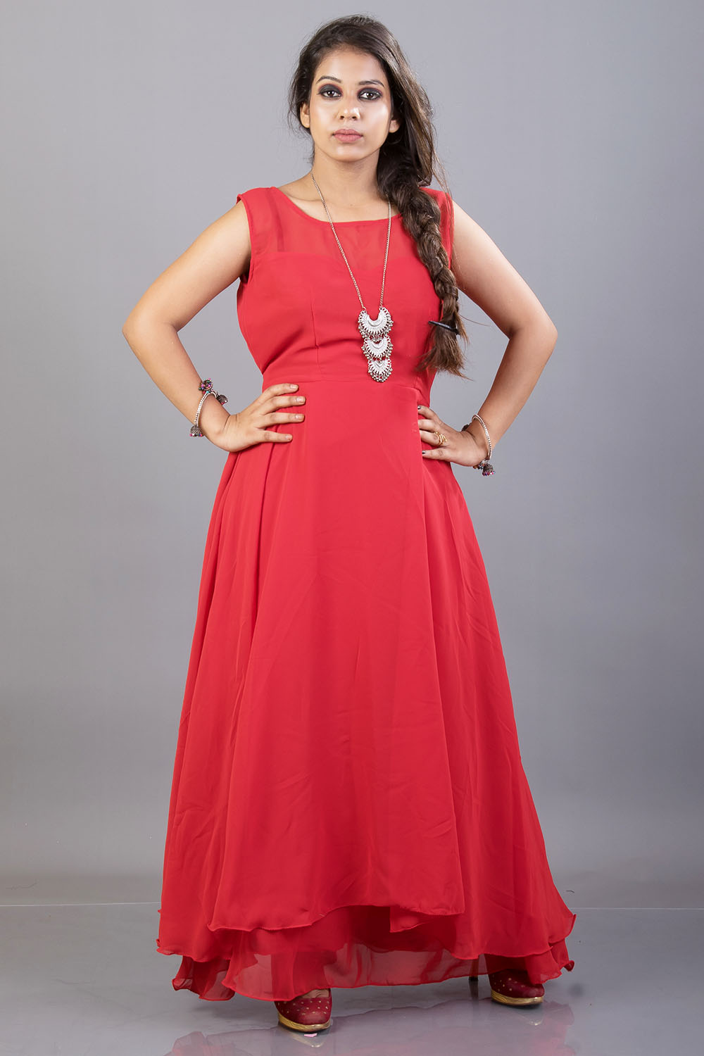 Red Boat Neck Double Flared Maxi Dress