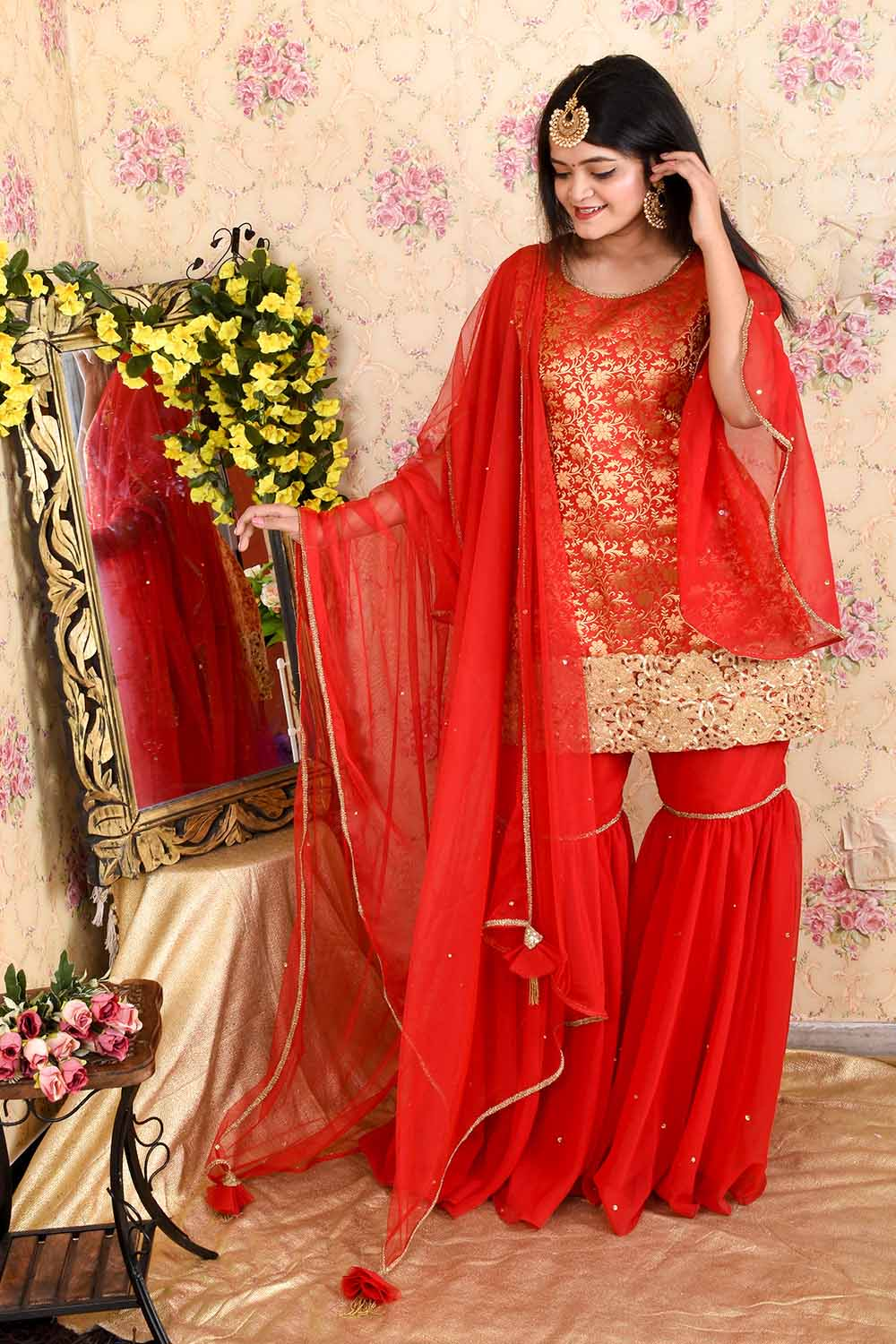 Red Brocade Sharara Suit with Dupatta