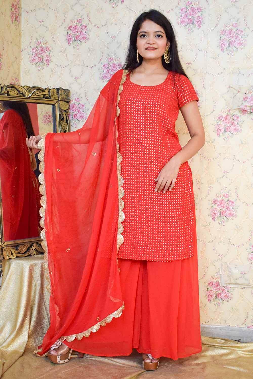 Red Chikankari Sharara Suit with Dupatta