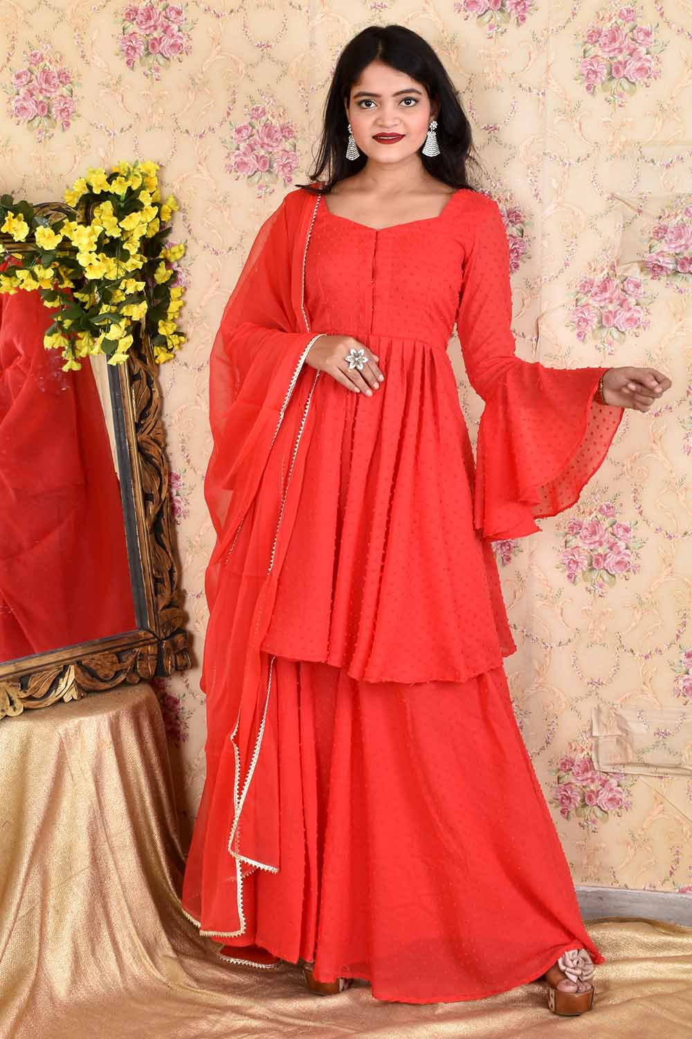 Red Dobby Georgette Sharara Suit