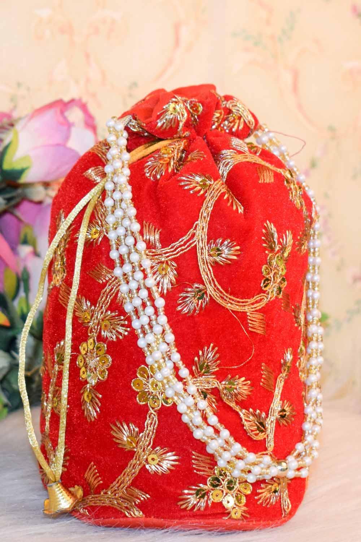 Red Embellished Potli Bag