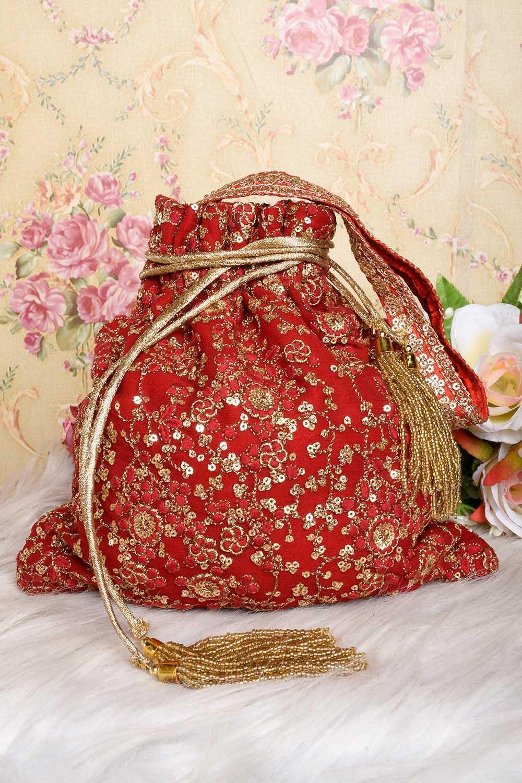 Red-Golden Embroidered Potli Bag
