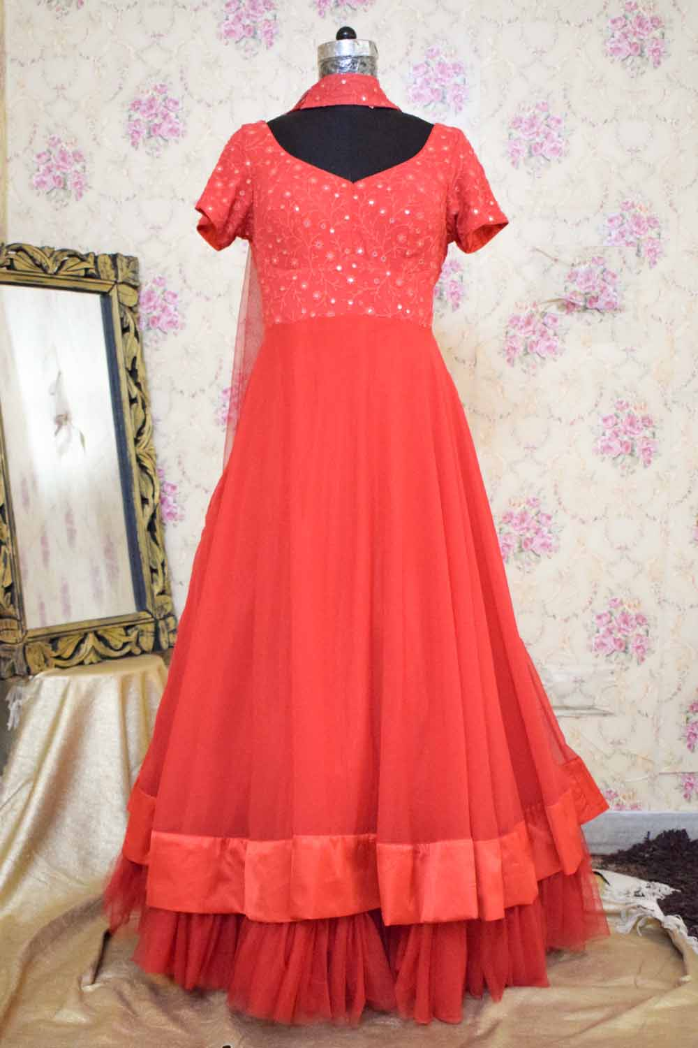 Red Ethnic wear Gown with Dupatta