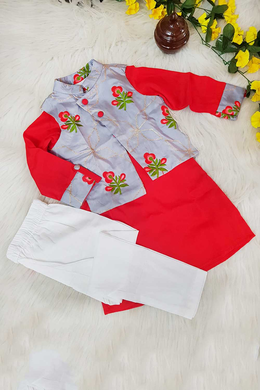 Red Grey and white 3 Pieces Set