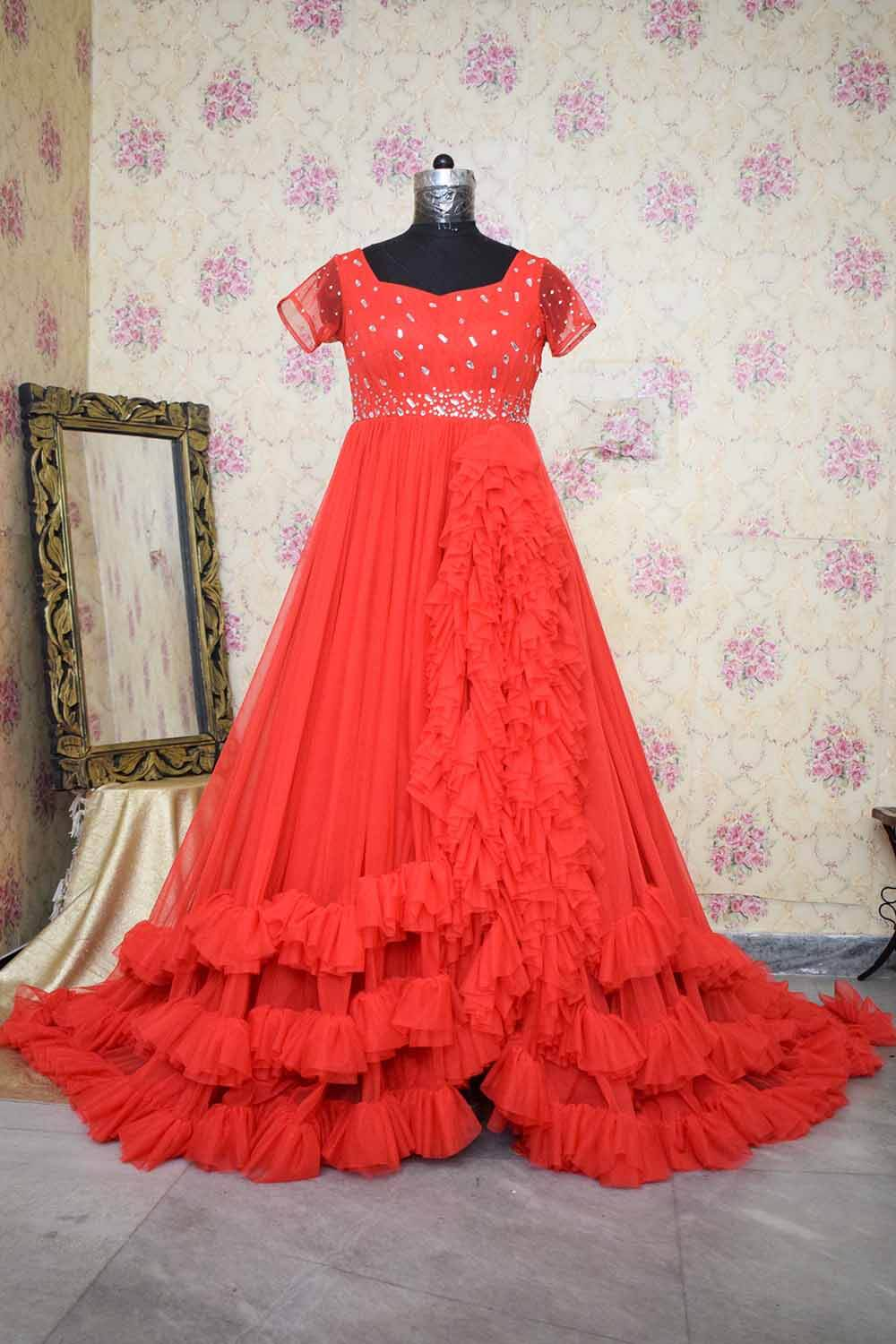 Red Heavy Ruffled Trail Gown