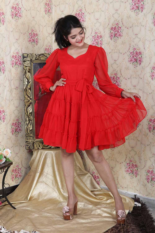 Red Massive Flare Short Dress