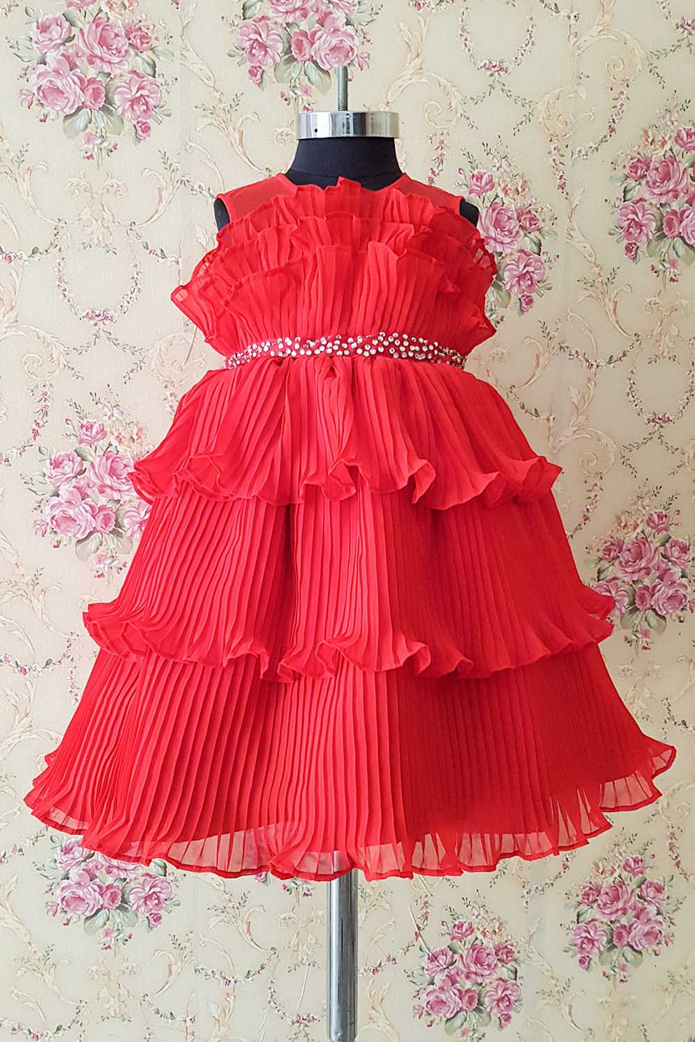 Red Pleated Gown