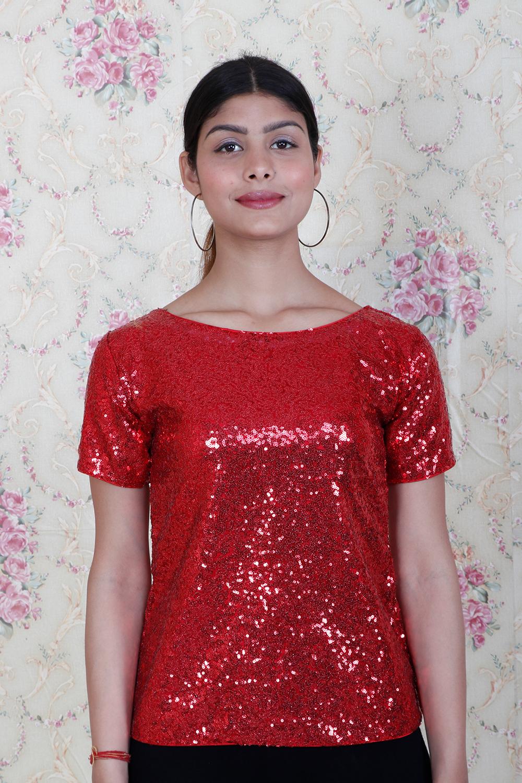 Red Sequins Partywear Top