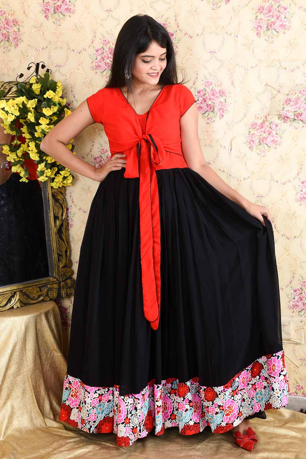 Red and Black Designer Gown