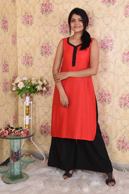 Red and Black Kurta Set