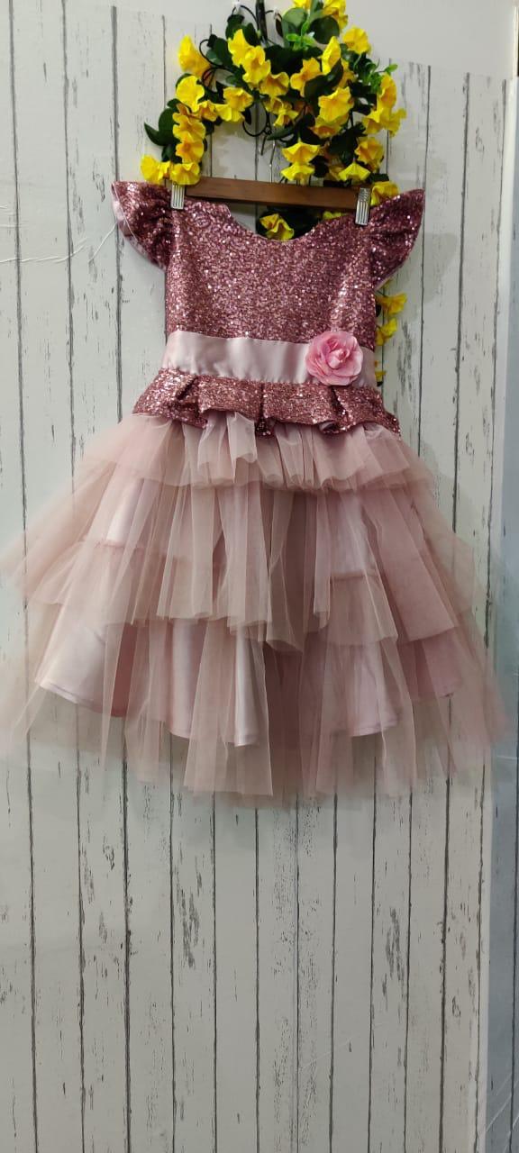 Rose Gold Multi Flared Baby Dress