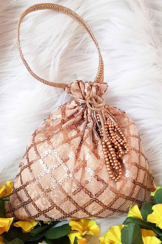 Rose-Golden Embroidered Potli Bag