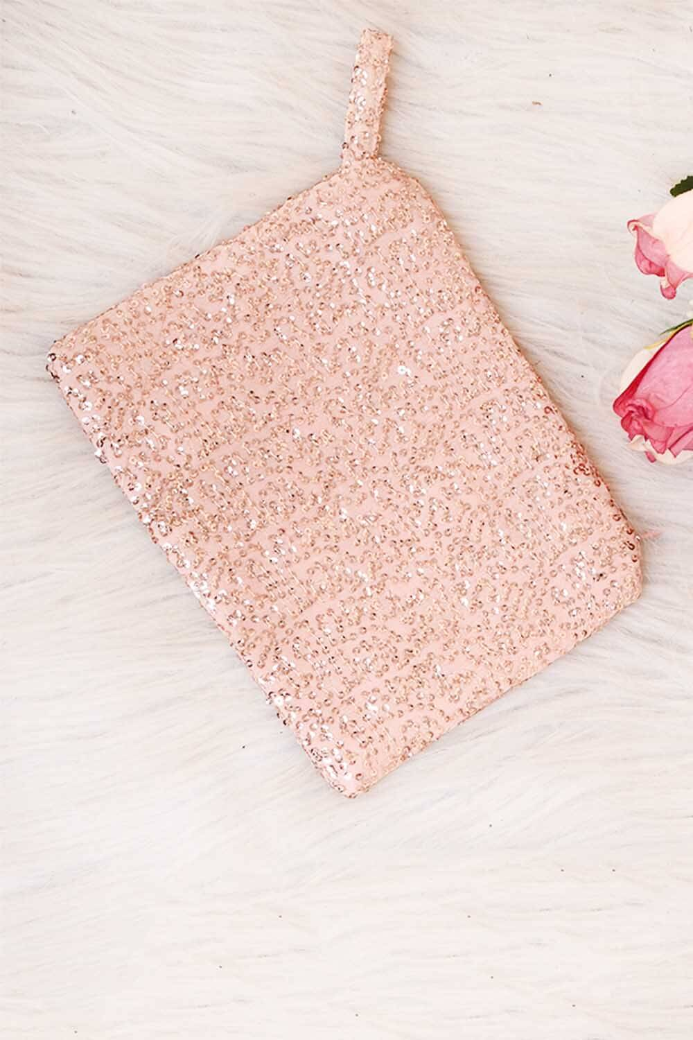 Rose gold Sequins Pouch