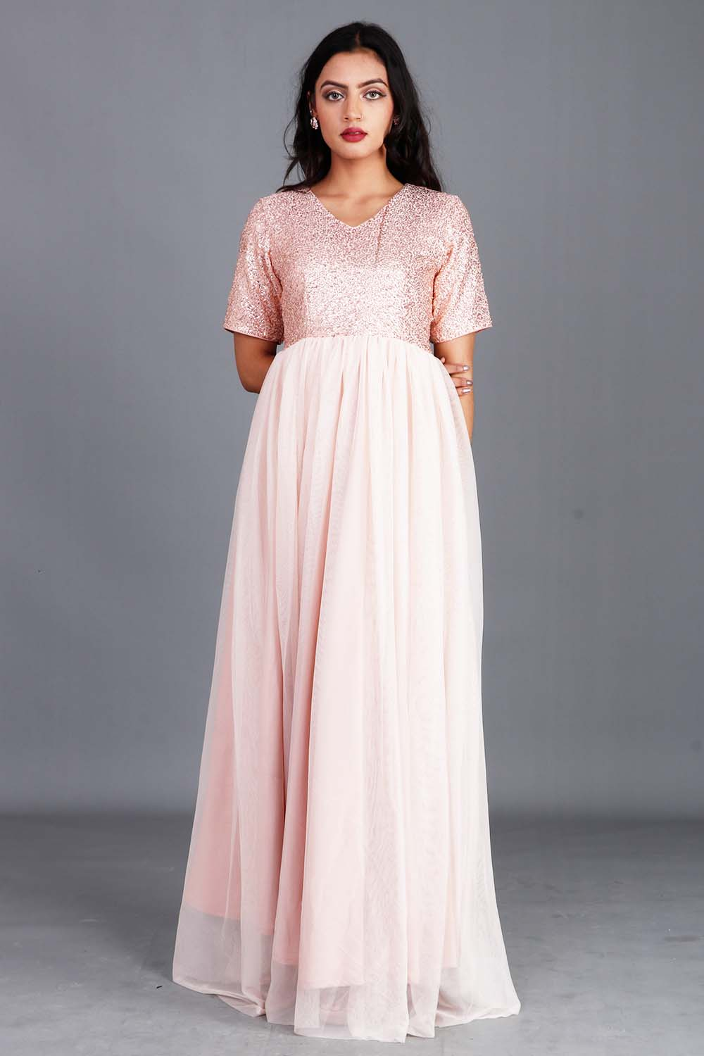 Rosegold Sequins And Georgette Gown