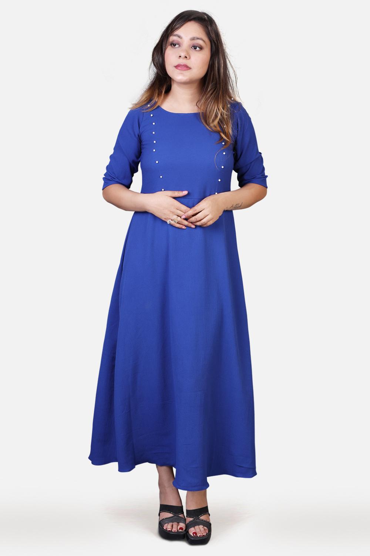 Royal Blue Bubble Crepe Maxi Dress