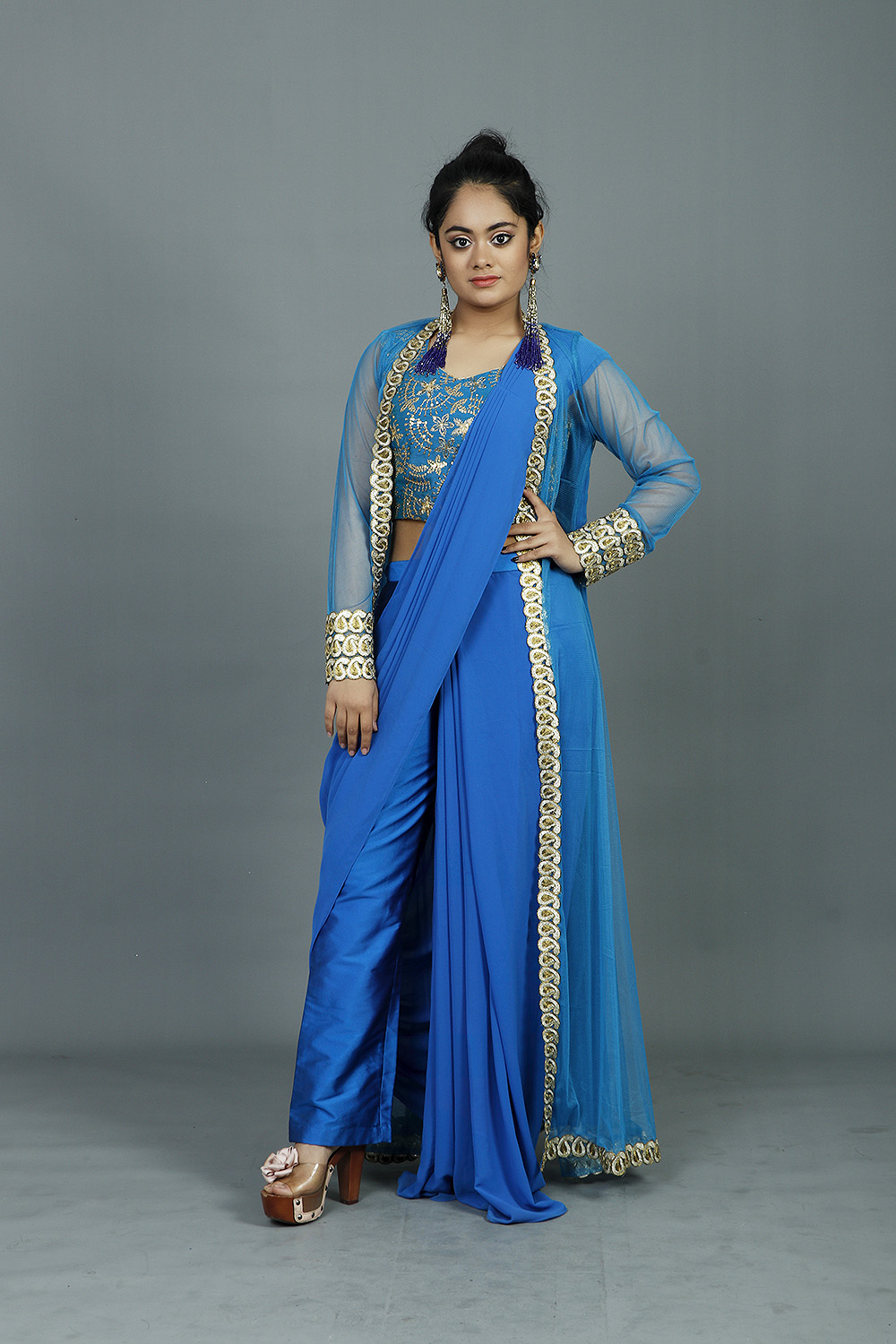 Royal Blue Draped Sari With Stitched Blouse And Shrug