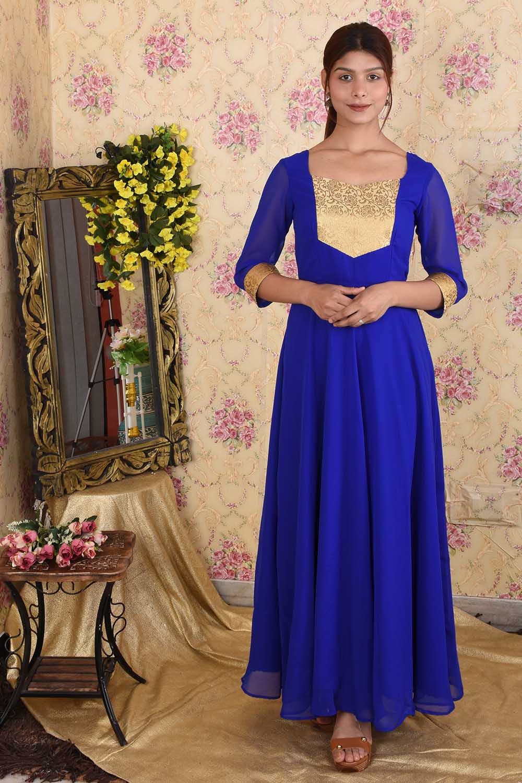 Royal Blue Georgette Anarkali with Golden Patch