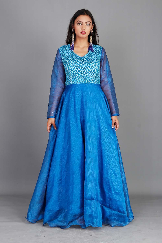 Royal Blue Organza Gown