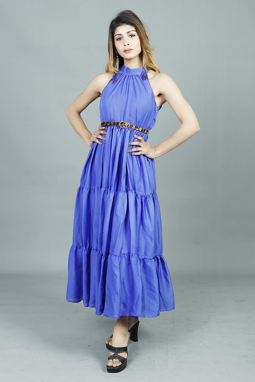Ruffled Flare Royal Blue Laser Satin Maxi Dress