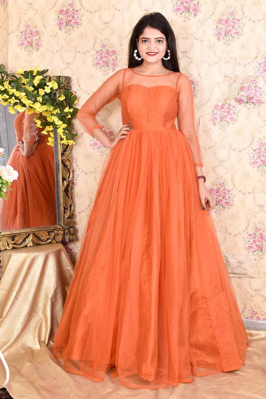 Rust Orange Net Gown
