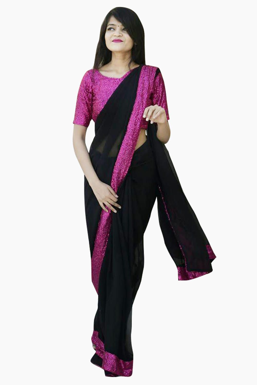 Shimmer Border Black Saree