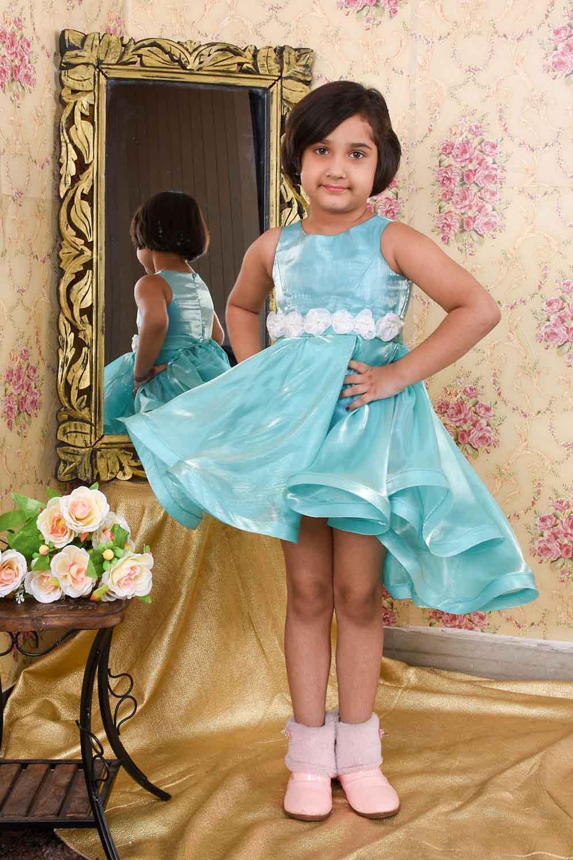Sky-Blue Flared Dress