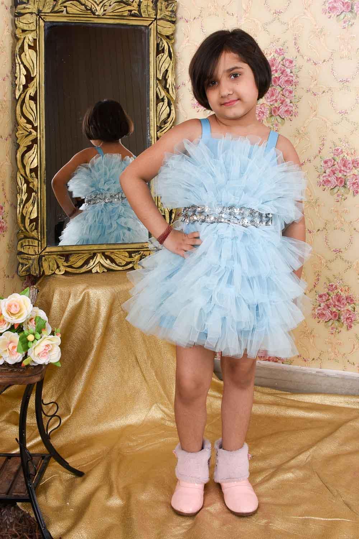 Sky-Blue Ruffled Dress