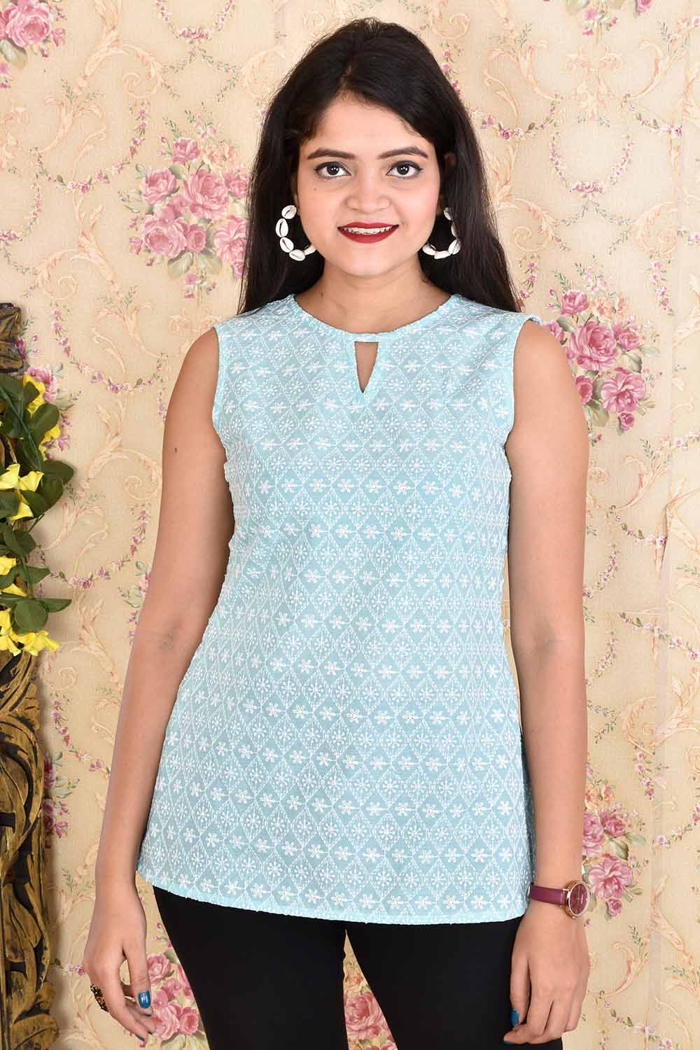 Skyblue Cotton Chikan Top