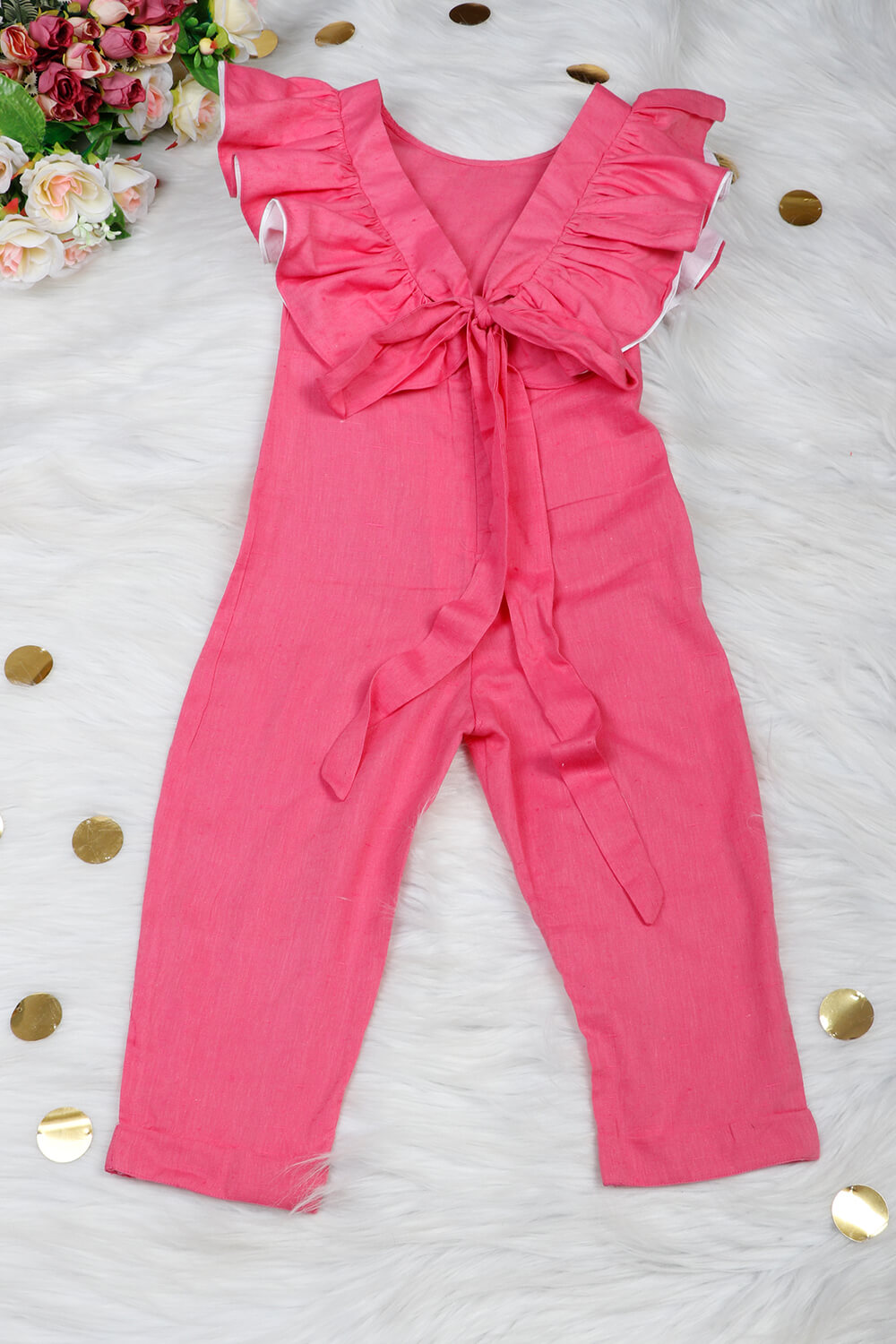 Solid Cotton Jumpsuit with Matching Hairband