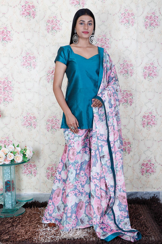 Solid Kurta with Printed Sharara and Dupatta Set