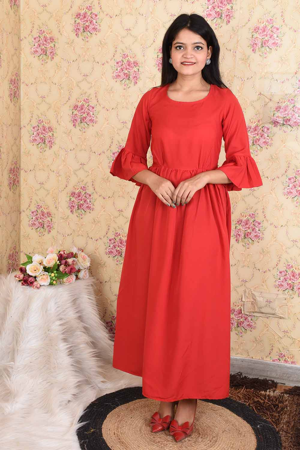 Solid Red Maxi Dress
