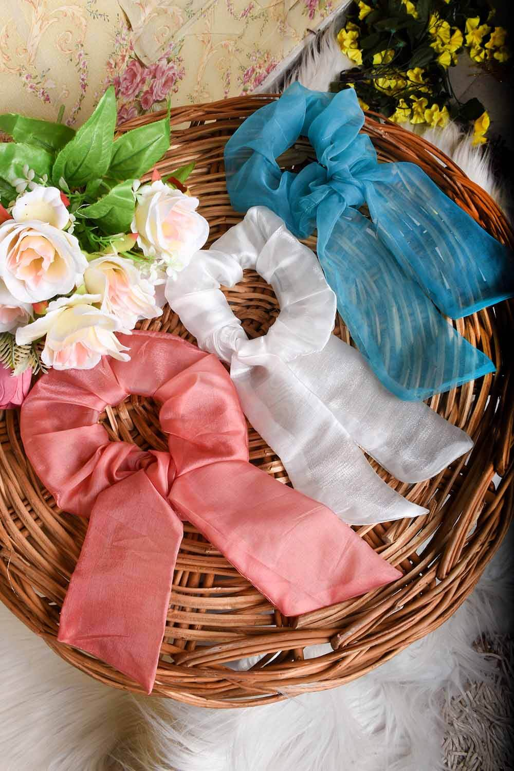 Solid organza ribbon style scrunchies combo set