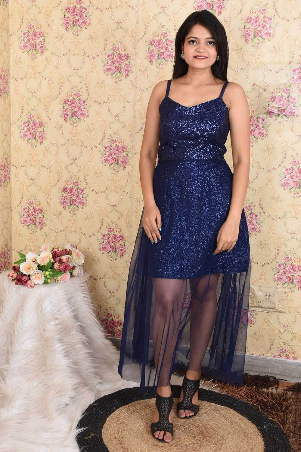 Stylish Navy Blue Sequins and Net Party wear Dress