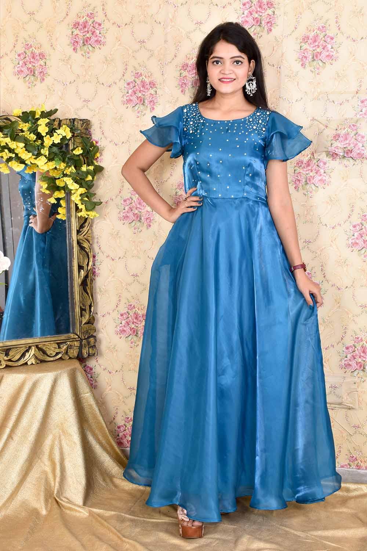 Teal Blue Organza Gown