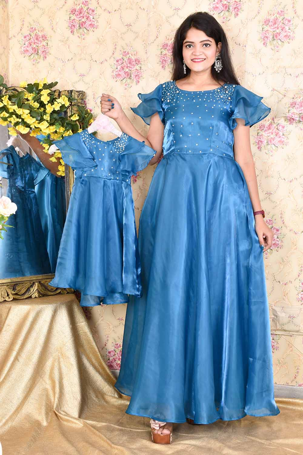 Teal Blue Organza Mother-Daughter Gown Combo
