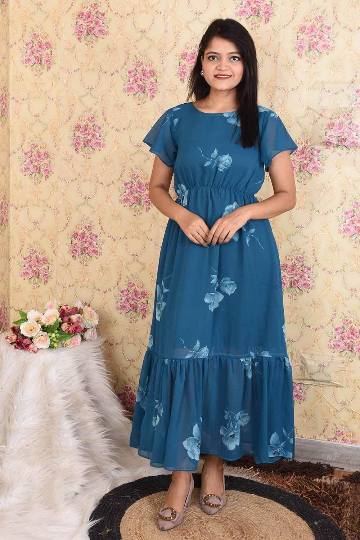 Teal Blue Printed Georgette Maxi Dress