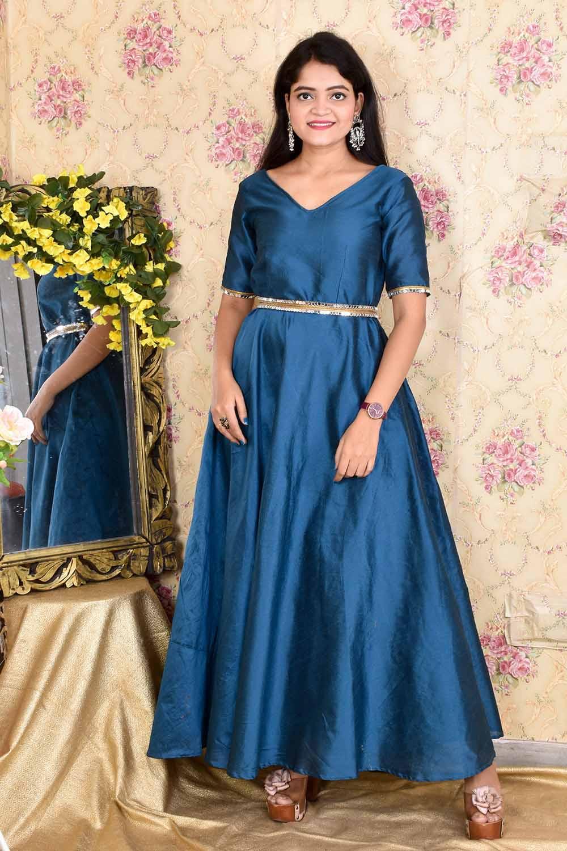 Teal Blue Taffeta Silk Gown