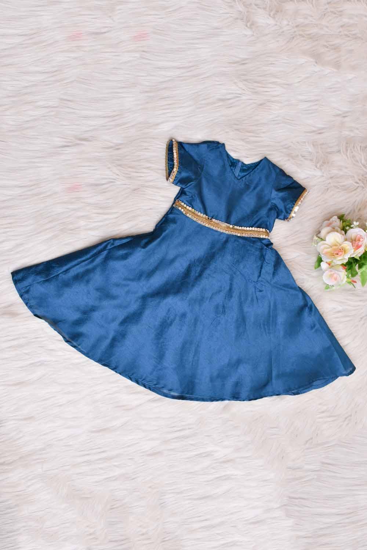 Teal Blue Taffeta Silk Kids Gown