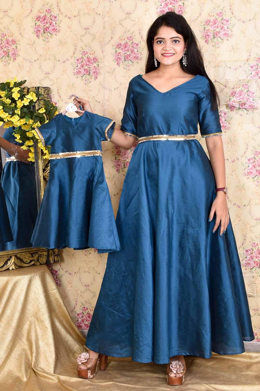Teal Blue Taffeta Silk Mother-Daughter Gown Combo