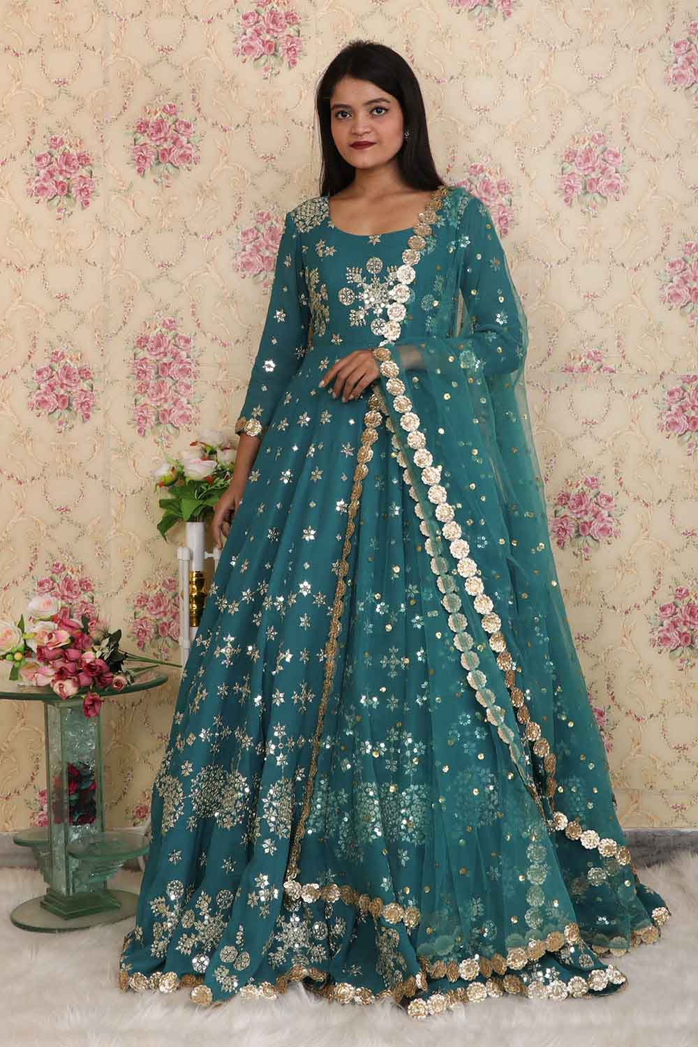 Teal Green Designer Trail Gown