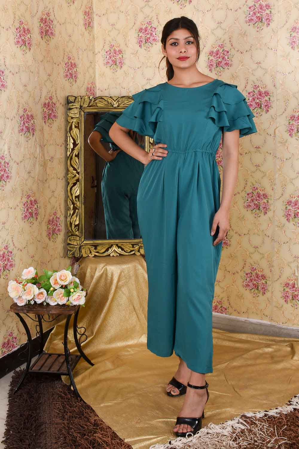 Teal Green Flared Sleeves Jumpsuit