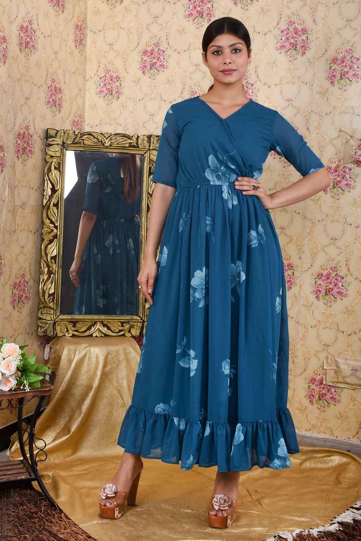 Teal Green Half Sleeves Maxi Dress