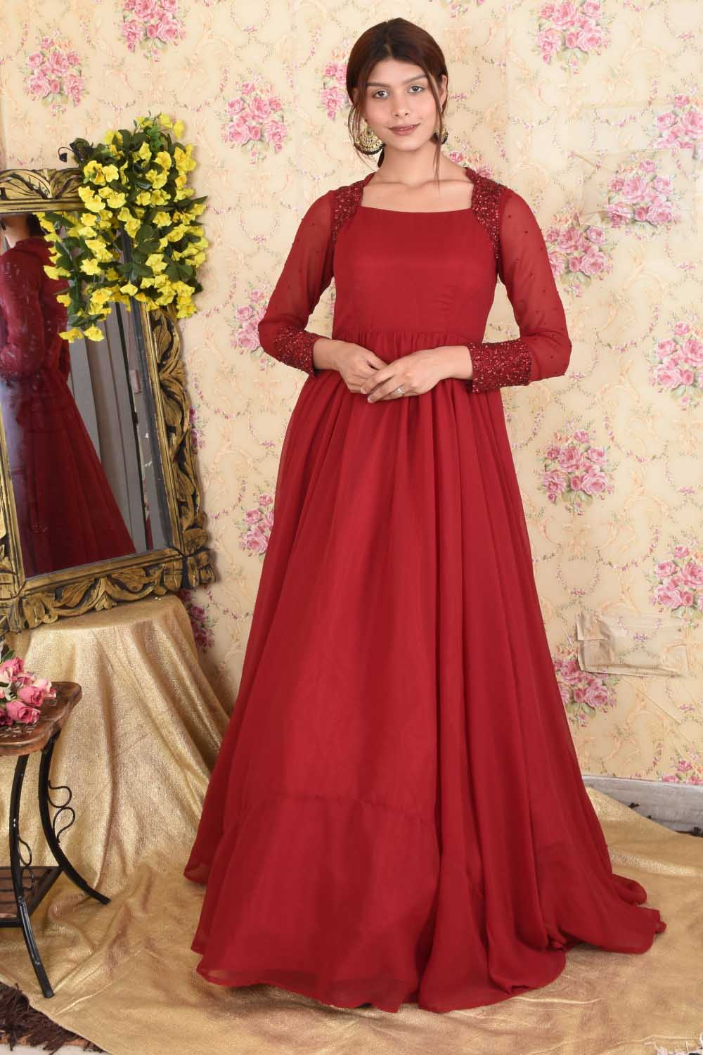 Hand Embroidered Maroon Gown