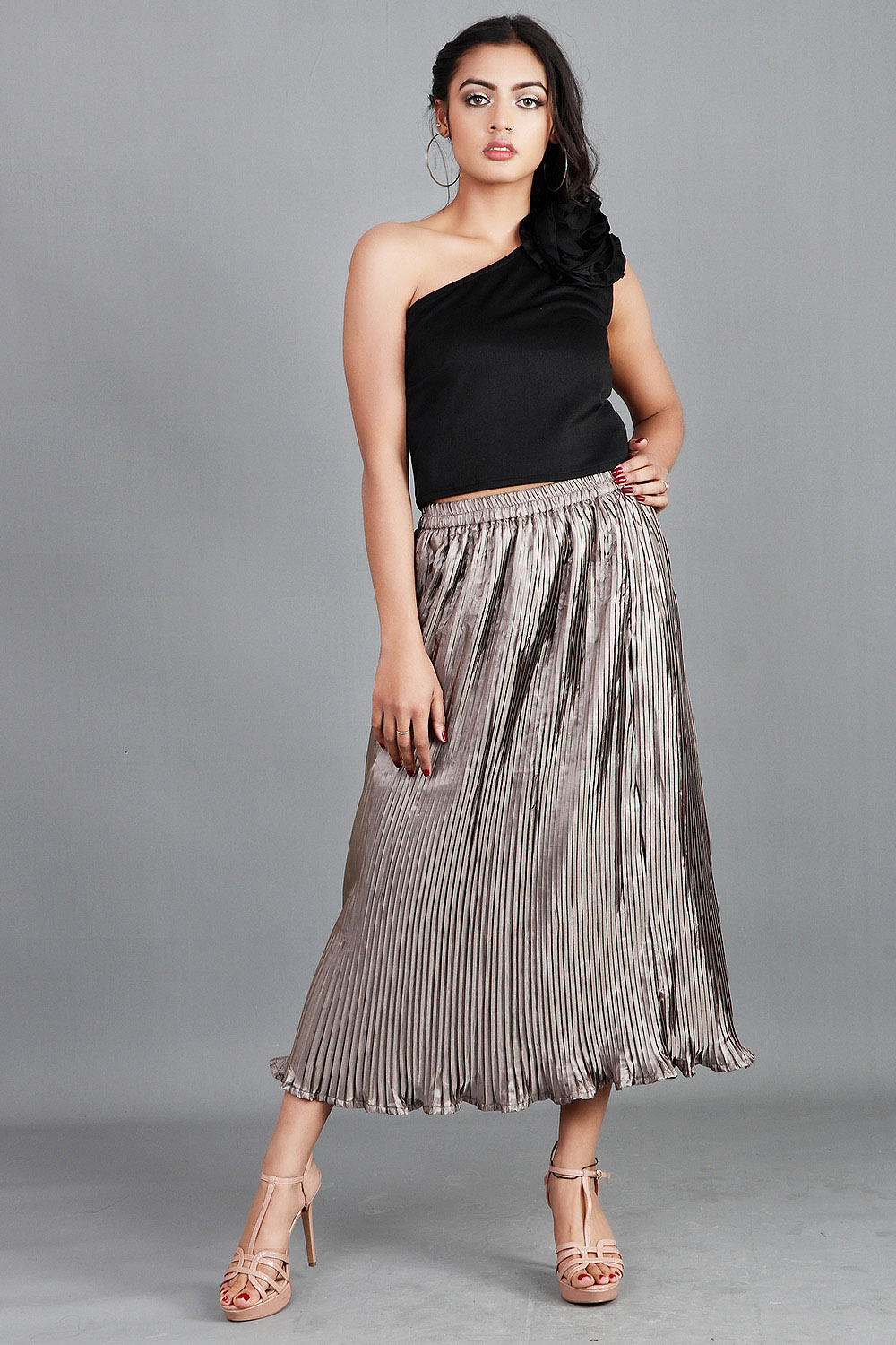 One Shoulder Top with Pleated Skirt