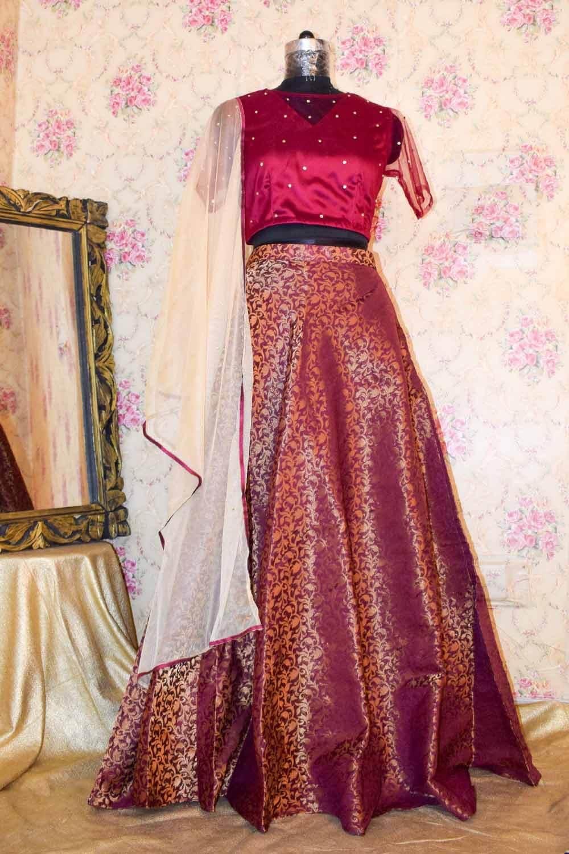 Vine Brocade Skirt Top Set with Dupatta