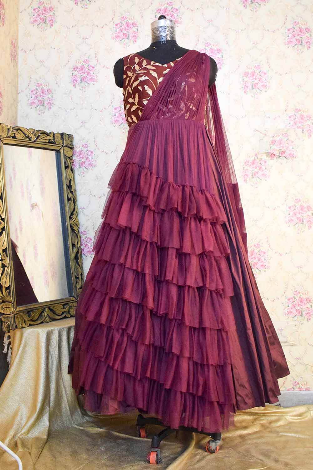 Vine Gown with Ruffled Draped Dupatta