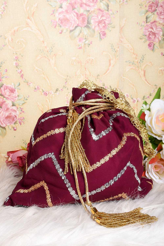 Vine Laheriya Embroidered Potli Bag